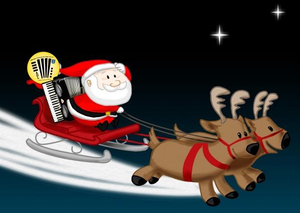 Weihnachtsexpress mit Akkordeon