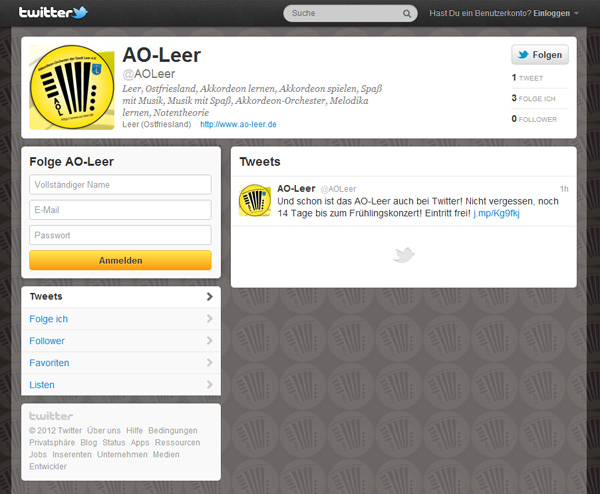 Akkordeon-Orchester der Stadt Leer e.V. bei Twitter.com