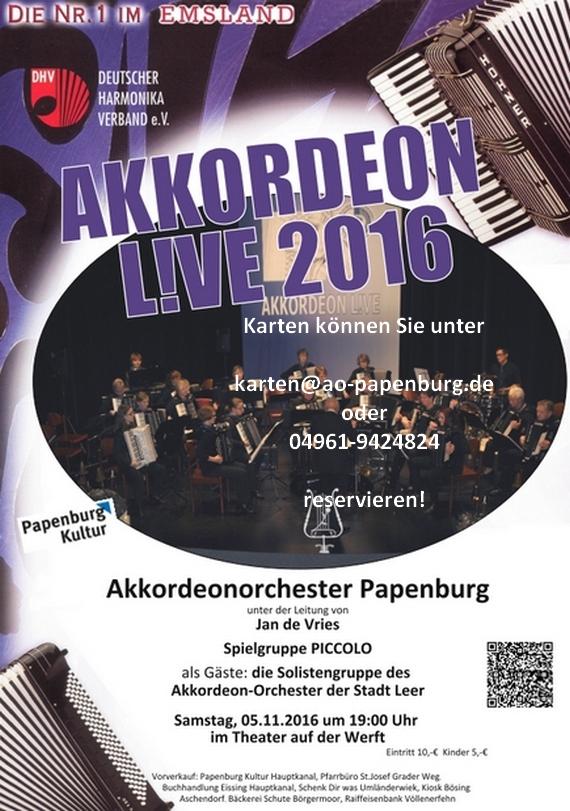 Plakat Akkordeon LIVE Papenburg 2016