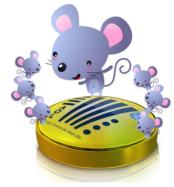 Mäuse auf dem AOL Logo